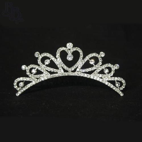 N612 Girls Heart Diamante Tiara