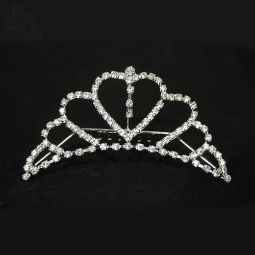 N613 Girls Heart Diamante Tiara