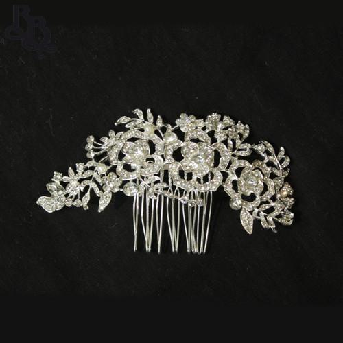 N619 Girls Floral Diamante Comb Headpiece