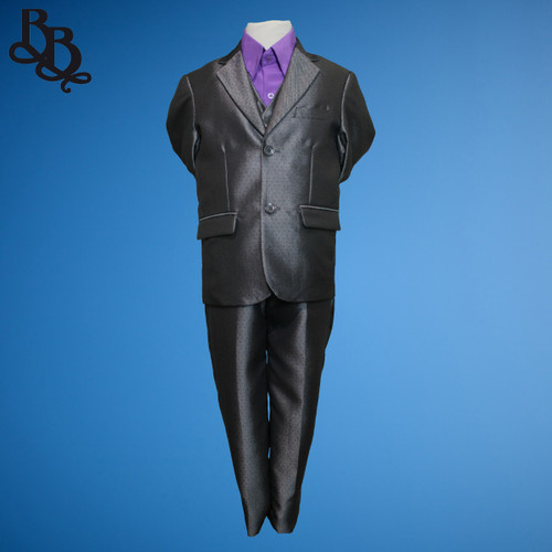 TT18 Grey Pattern 3 Piece Jacket Vest Trouser Suit