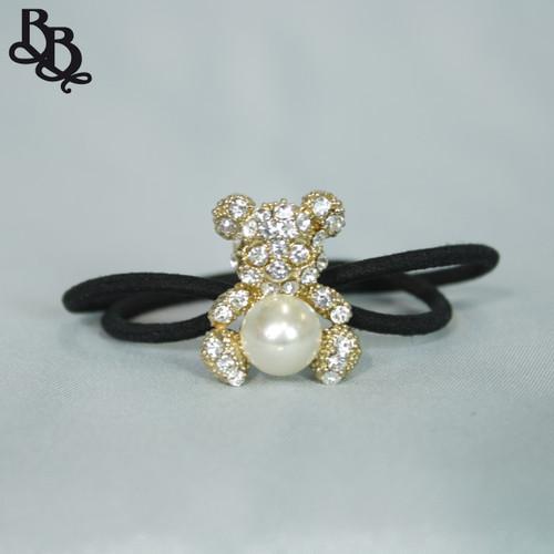 N622 Girls Teddy Bear Diamante Pearl Hair Tie