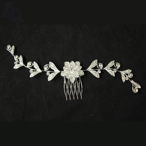 N623 Girls Floral Diamante Comb Headpiece