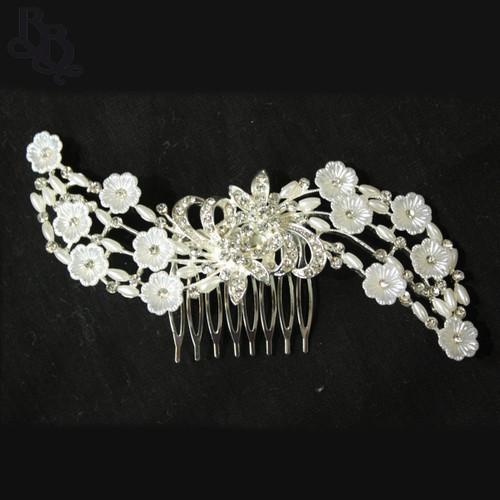 N625 Girls Floral Diamante Comb Headpiece