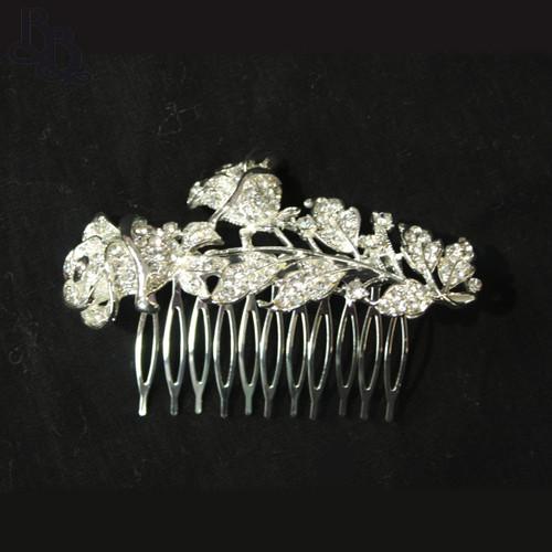 N627 Girls Rose Diamante Comb Headpiece