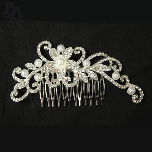 N629 Girls Floral Diamante Comb Headpiece