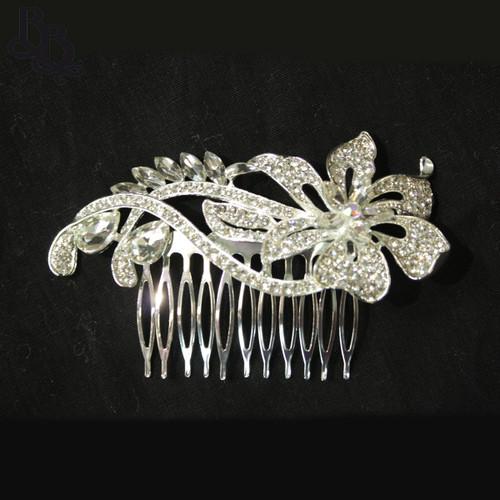 N630 Girls Floral Diamante Comb Headpiece