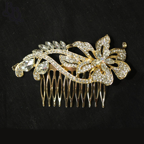 N631 Girls Gold Floral Diamante Comb Headpiece