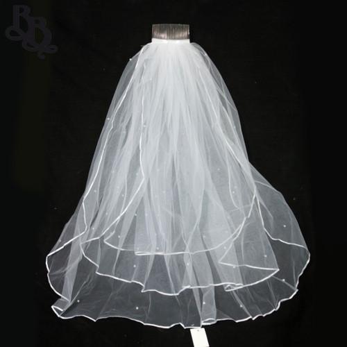 White Triple Layer Pearl Veil N502