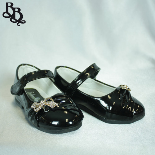 G450 Girls Colour Shoe with Bow and Diamante