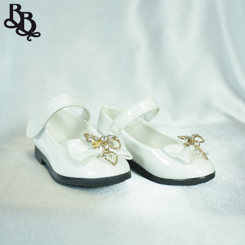 G452 Girls Colour Shoe with Bow Diamante Heart Charm