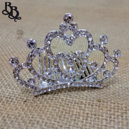 N703 Girls Heart Crown Diamante Tiara