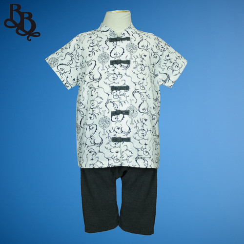 N825 Boys Oriental 2 Piece Cotton Set