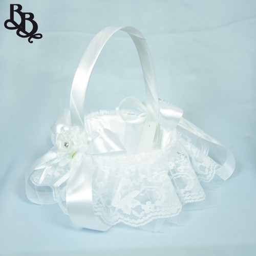 FLKT02 Small White Flowergirl Basket