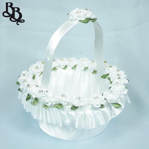 FLKT04 Medium White Flowergirl Basket