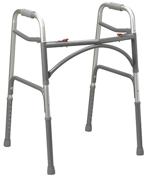 Folding 2-button walker, adult, no wheels, 1 each