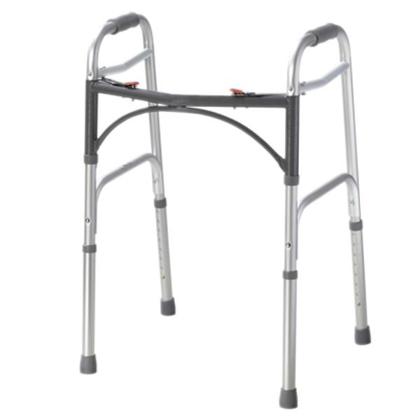 Folding 2-button walker, adult, no wheels, case of 4