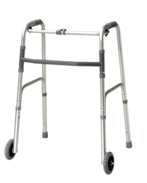 "Folding 2-button walker, 3"" wheels-glides, adult, case of 4"