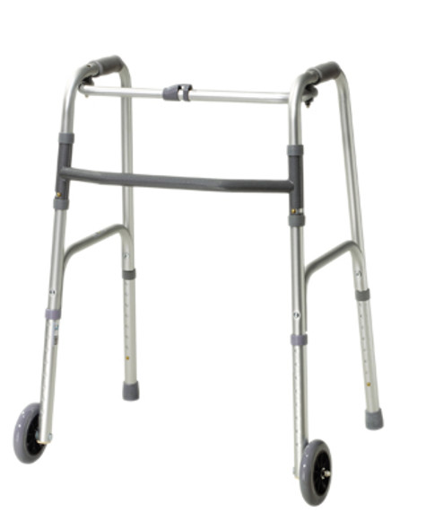 "Folding 2-button walker, 5"" wheels-glides, adult, case of 4"