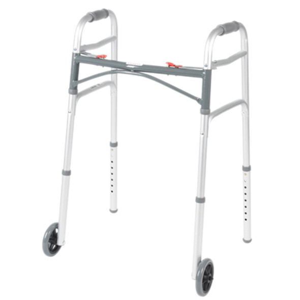 "Folding 2-button walker, 5"" wheels-glides, junior, case of 4"