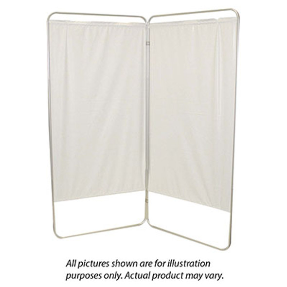 "Standard 2-Panel Privacy Screen - White 6 mil vinyl, 35"" W x 68"" H extended, 19"" W x 68"" H x1.5"" D folded"