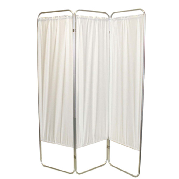 "Standard 3-Panel Privacy Screen - White 6 mil vinyl, 48"" W x 68"" H extended, 19"" W x 68"" H x2.5"" D folded"