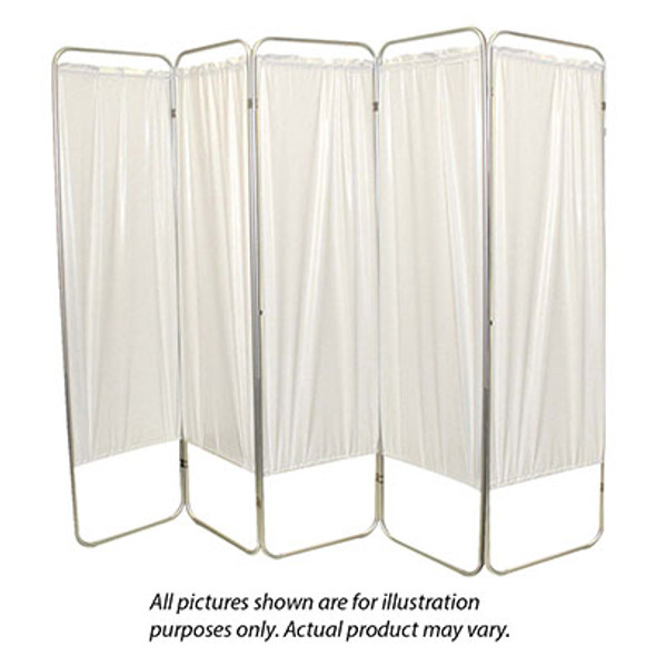 "Standard 3-Panel Privacy Screen with casters - Green 6 mil vinyl, 48"" W x 68"" H extended, 19"" W x 68"" H x2.5"" D folded"