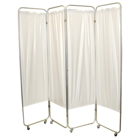 "Standard 3-Panel Privacy Screen with casters - White 6 mil vinyl, 48"" W x 68"" H extended, 19"" W x 68"" H x2.5"" D folded"