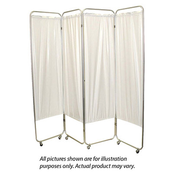 "Standard 4-Panel Privacy Screen with casters - Yellow 4 mil vinyl, 62"" W x 68"" H extended, 19"" W x 68"" H x3.25"" D folded"