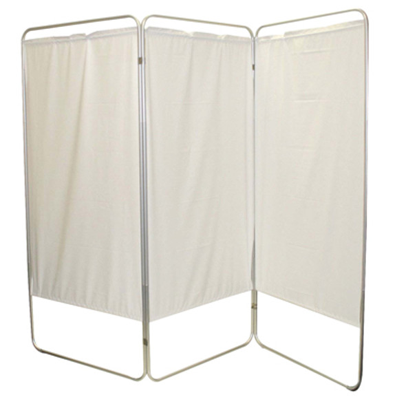 "King size 4-Panel Privacy Screen - Green 6 mil vinyl, 113"" W x 68"" H extended, 31"" W x 68"" H x3.25"" D folded"