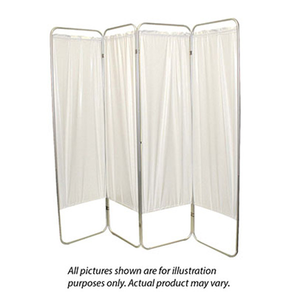 "King size 4-Panel Privacy Screen - White 6 mil vinyl, 113"" W x 68"" H extended, 31"" W x 68"" H x3.25"" D folded"