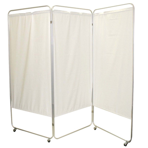 "King size 3-Panel Privacy Screen with casters - White 6 mil vinyl, 85"" W x 68"" H extended, 31"" W x 68"" H x2.5"" D folded"