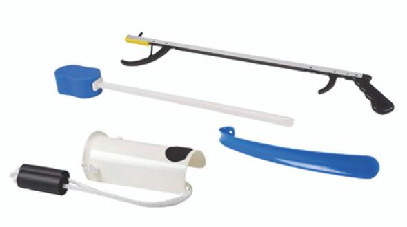 "FabLife Hip Kit: 32"" reacher, contoured sponge, formed sock aid, 18"" plastic shoehorn"