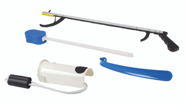 "FabLife Hip Kit: 26"" reacher, contoured sponge, flexible sock aid, 24"" metal shoehorn"
