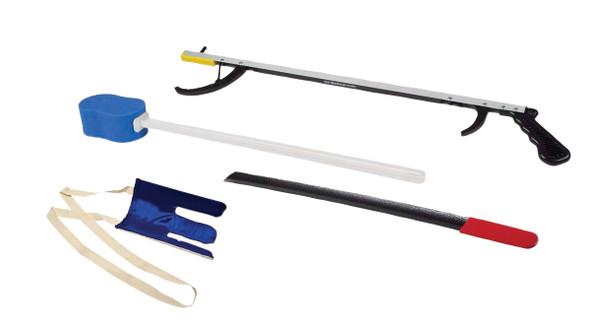 "FabLife Hip Kit: 26"" Reacher, contoured sponge, formed sock aid, 18"" plastic shoehorn, 24"" dressing stick"