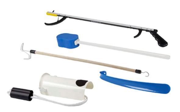 "FabLife Hip Kit: 32"" reacher, contoured sponge, formed sock aid, 18"" plastic shoehorn, 24"" dressing stick"