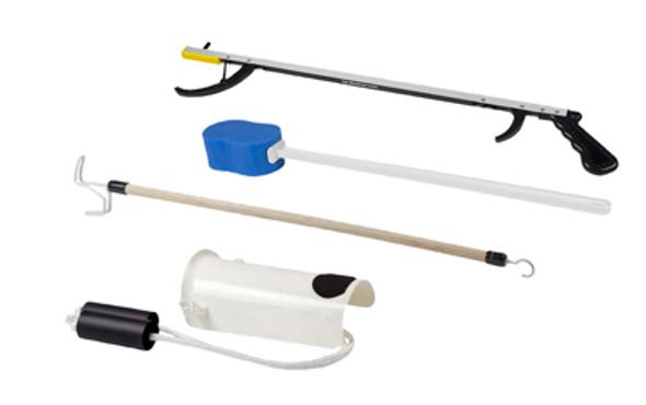 """FabLife Hip Kit: 32"""" reacher, contoured sponge, formed sock aid, 24"""" dressing stick"""