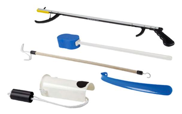 """FabLife Hip Kit: 26"""" reacher, contoured sponge, formed sock aid, 24"""" dressing stick"""