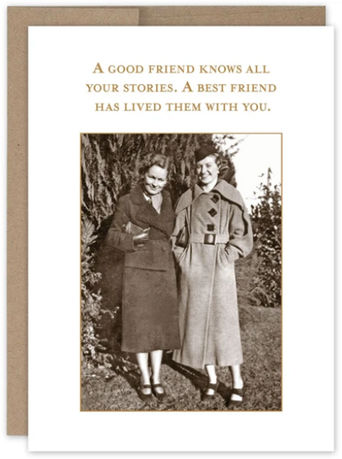 A good friend knows all your stories. A best friend has lived them with you...Greeting card