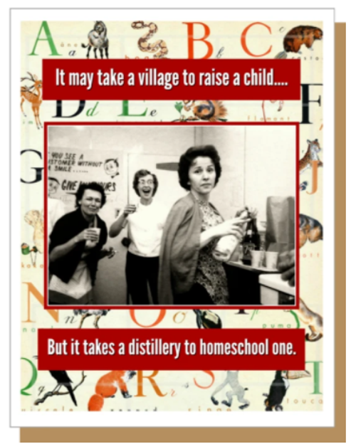 it may take a village to raise a child...But it takes a distillery to home school one...Greeting Card.