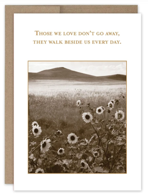 Those we love don't go away, they walk beside us every day card