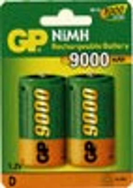 Pack of 2 D Cell NiMH 9000mAh 1.2V Rechargeable Batteries