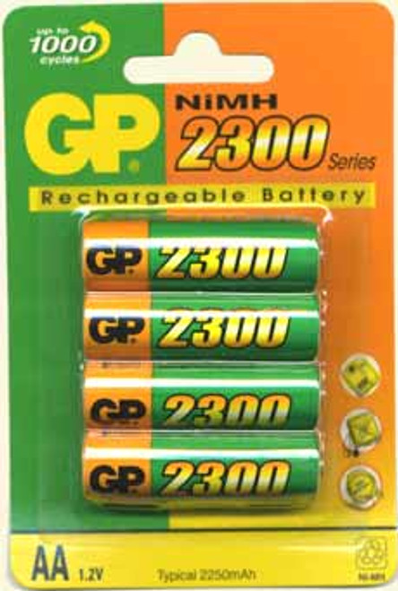 Pack of 4 AA Cell NiMH 1.2V 2300mAh Rechargeable Battery