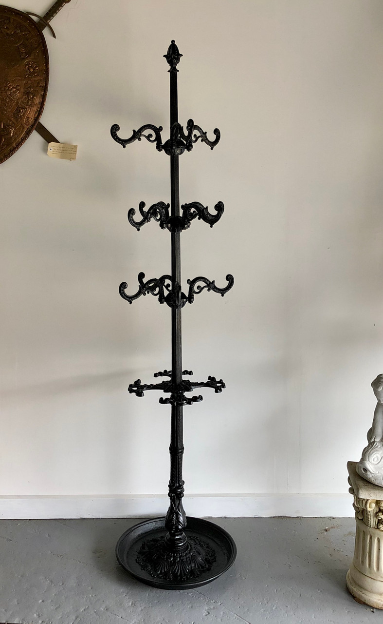 Picture of: Antique Black French Cast Iron Coat Stand