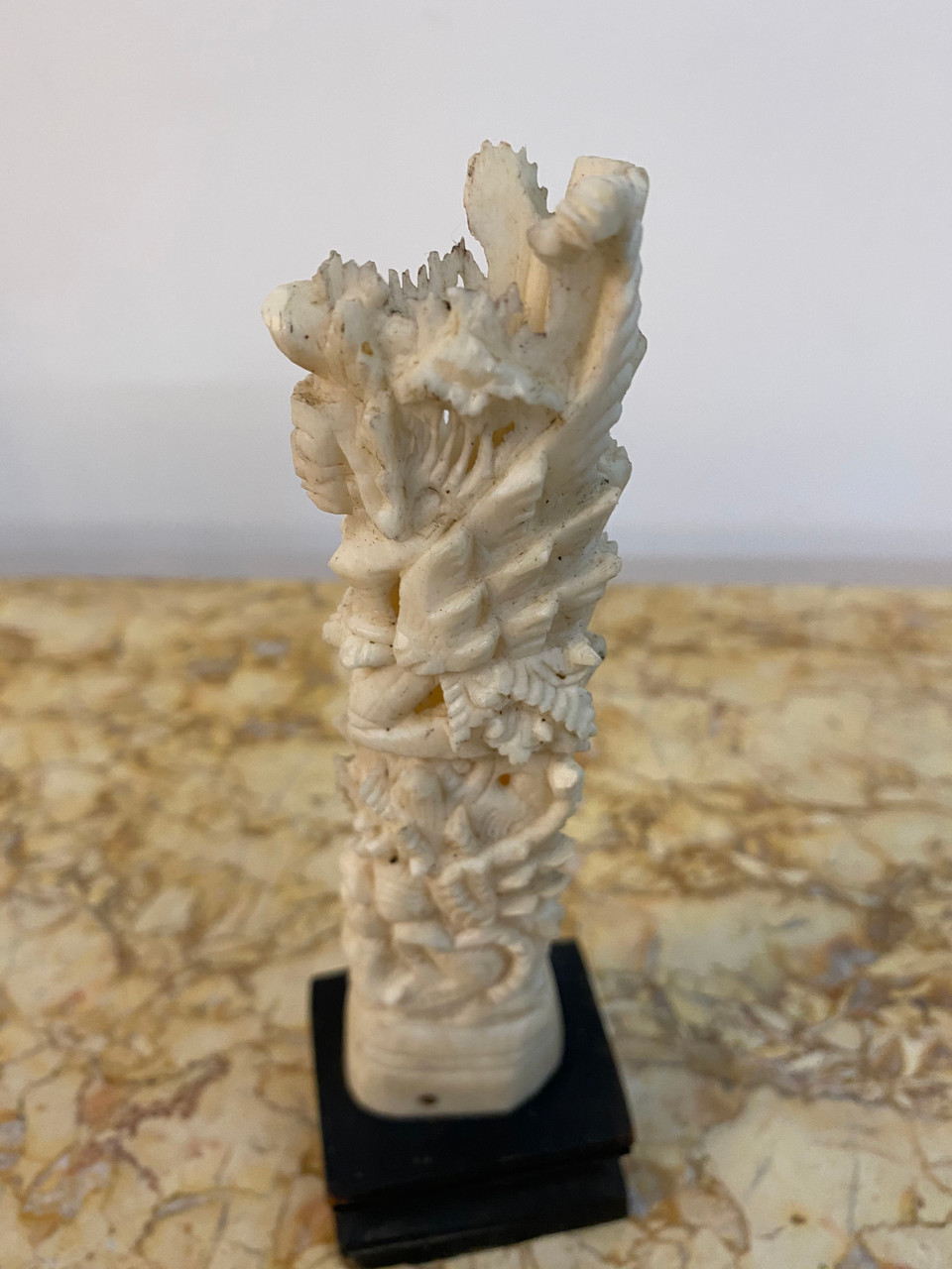 Vintage Ornately Carved Bone Ornament On Stand