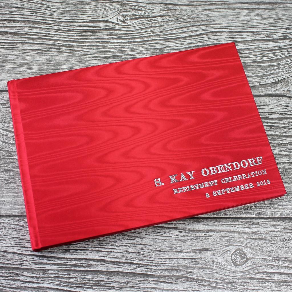 Red Moiré Satin Taffeta Wedding Guest Book