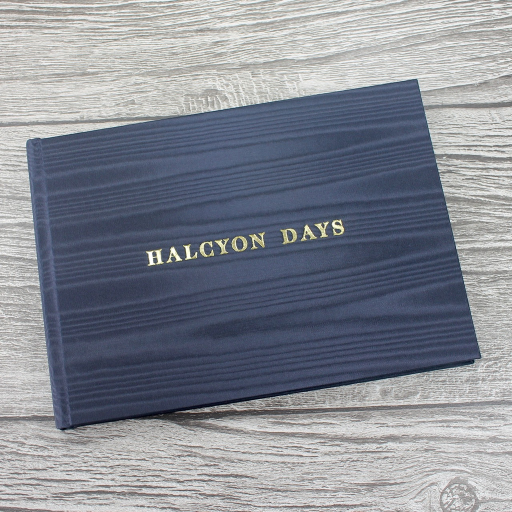 Navy Moiré Satin Taffeta Wedding Guest Book