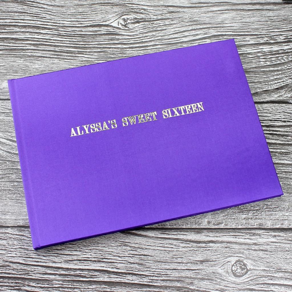 Purple Satin Wedding Guest Book