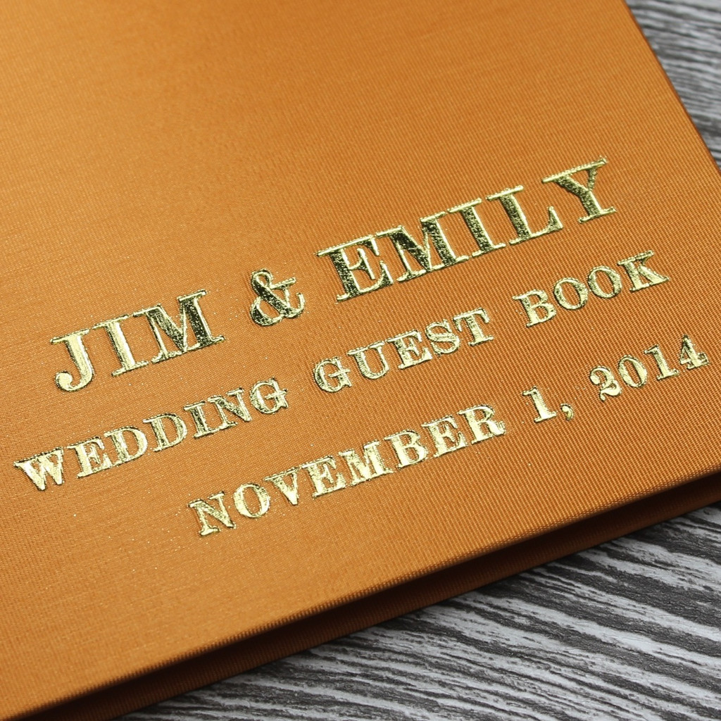 Burnt Orange Satin Wedding Guest Book