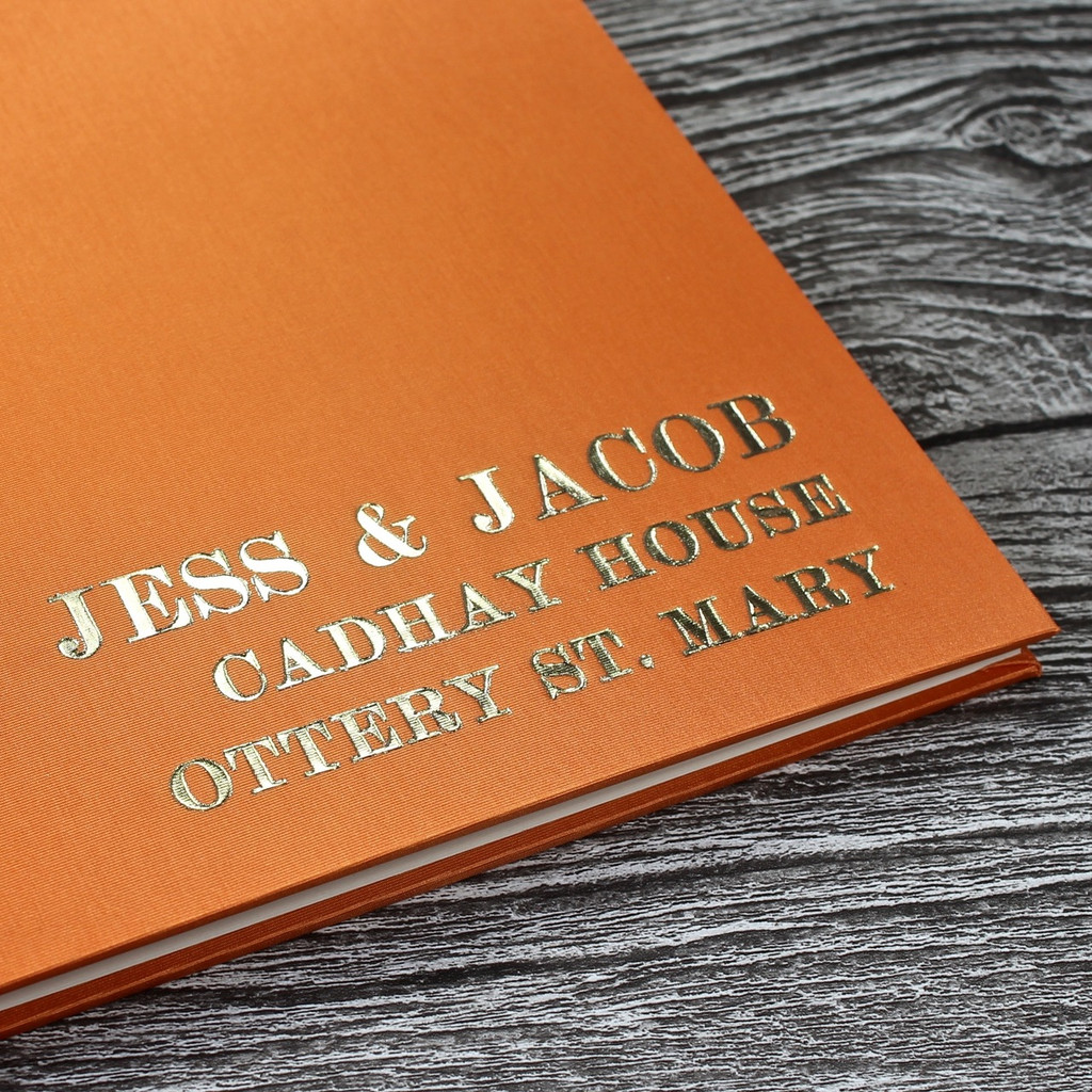 Orange Satin Wedding Guest Book