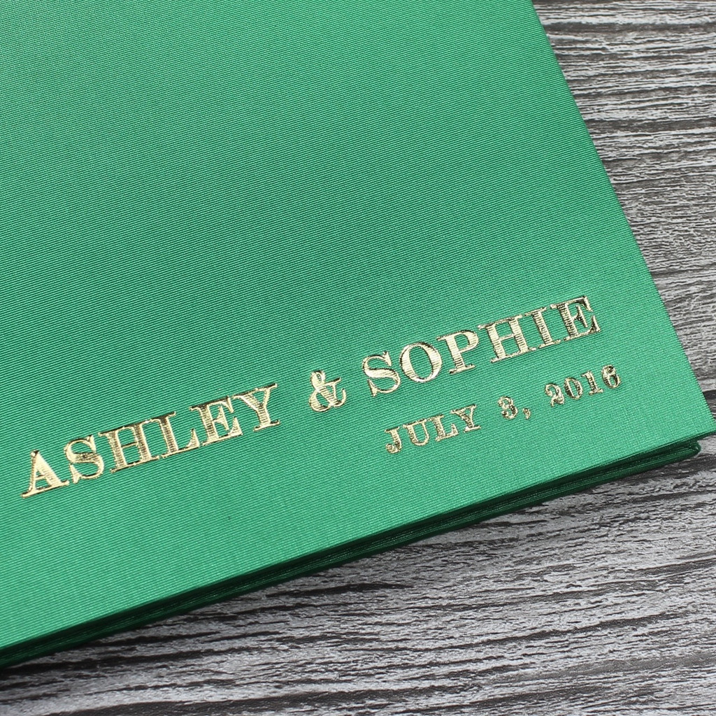 Bright Green Satin Wedding Guest Book